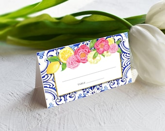 Blue and White Tile with Lemon and Flowers Escort Cards - Place Cards - Porteguese