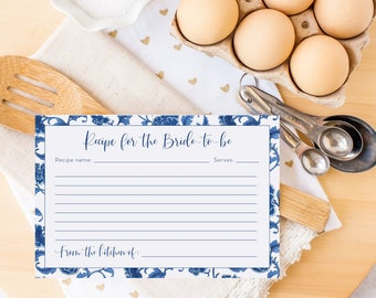 INSTANT DOWNLOAD Blue and White Chinoiserie Recipe Card