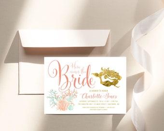 Under the Sea Mermaid Bridal Shower Invitation - Here Comes the Bride Coral Faux Gold Foil Beach Invitation Gold Glitter Glam Watercolor