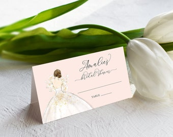 Blush Brunette Bride in a Gown Escort Cards - Place Cards