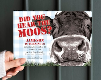Cow and Blue Gingham Birthday Party Invitation - Did you hear the moos