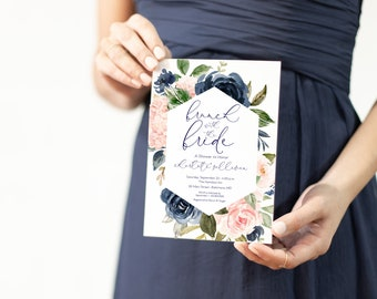 Blush and Navy Floral Brunch with the Bride Bridal Shower Invitation - Blush Pink Flowers - Baby Shower - Greenery Invitation Watercolor