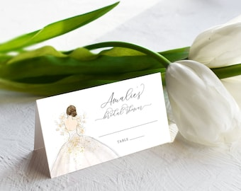 Brunette Bride in a Gown Escort Cards - Place Cards