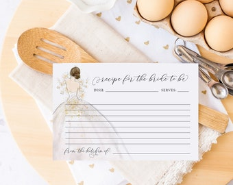INSTANT DOWNLOAD Brunette Bride in a Gown Recipe Card