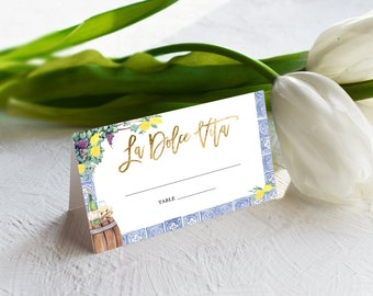 La Dolce Vita Blue and White Tile with Lemon Wine Tasting Escort Cards - Place Cards - Italian Wedding