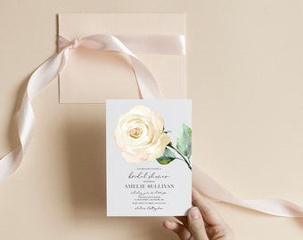 White Floral Bridal Shower Invitation