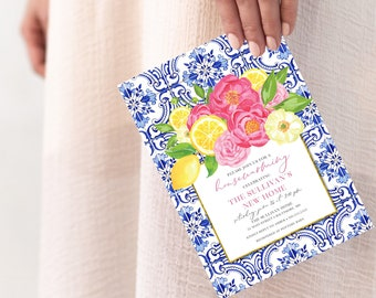 Tuscan Lemon and Fuschia Floral Housewarming Party Invitation - Portuguese Blue Tile and Lemon Invitation