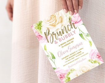 Pink Brunch and Bubbly Bridal Shower Invitation - Pink Peony Rose and Faux Gold Foil Watercolor Floral Boho Shower Invitation Printable