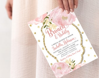 Peony Brunch and Bubbly Bridal Shower Invitation - Romantic Garden Floral Blush Pink and Gold Polka Dots  Printable