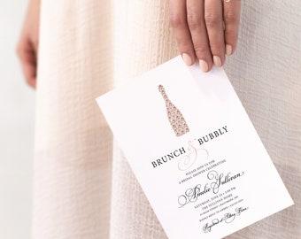 Rose Gold Brunch and Bubbly Champagne Bottle Bridal Shower or Baby Shower Invitation