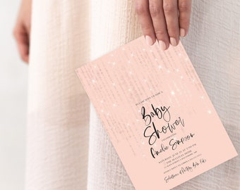 Rose Gold Twinkling Fairy Lights Baby Shower or Bridal Shower Invitation