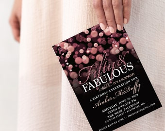 Surprise 50th Birthday Party Invitation with Rose Gold Glitter Bokeh Fifty and Fabulous PRINTABLE
