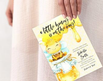 Honey Bee Baby Shower Invitation - A Little Honey is on the Way Invitation