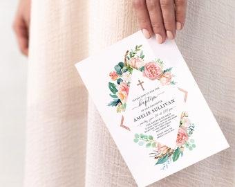 Rose Gold Floral Baptism Invitation