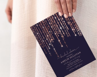 Rose Gold and Navy Twinkling Fairy Lights Bridal Shower or Baby Shower Invitation