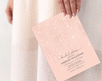 Rose Gold Twinkling Fairy Lights Bridal Shower or Baby Shower Invitation
