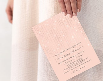 Rose Gold Twinkling Fairy Lights Bat Mitzvah Invitation