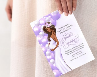 African American Mom to Be Purple Balloon Garland Baby Shower Invitation