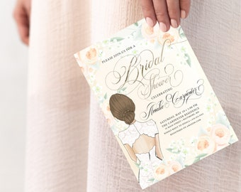Brunette Bride in a Gown Cream Floral Bridal Shower Invitation