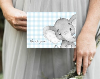 Blue Elephant Gingham Baby Shower Thank You Notes