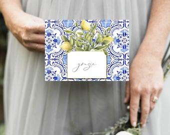 Tuscan Lemon Tile Thank You Notes Grazie