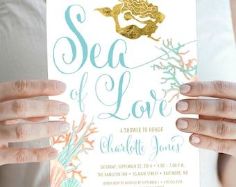 Under the Sea Mermaid Bridal Shower Invitation - Boho Sea of Love Coral Turquoise Faux Gold Foil Beach Invitation Gold Glitter Watercolor
