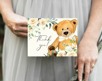 PRINTABLE Yellow Bear Thank You Notes Instant Download