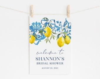 Lemon and Blue Tile Bridal Shower Welcome Sign - Italian Bridal Shower