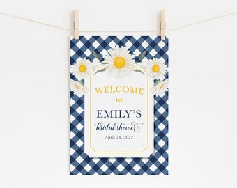 Southern Style - Navy Blue Gingham Bridal Shower Welcome Sign - Preppy Gingham and Daisy