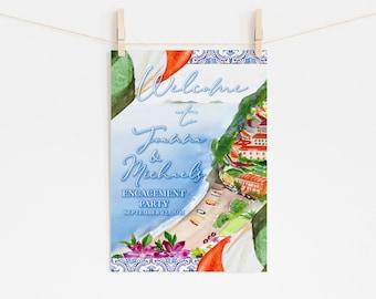 Amalfi Coast Engagement Party Welcome Sign - Italian Tile Sign - Blue and White Tile - Printable Sign - Italian Flag - Coastline