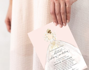 Blonde Bride in a Dress Virtual Bridal Shower Invitation