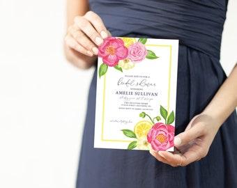 Lemon and Hot Pink Floral Bridal Shower Invitation