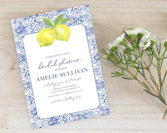 Tuscan Lemon Bridal Shower Invitation - Blue Tile and Lemon Bridal Shower Invitation