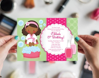 African American Kid's Spa Birthday Party Invitation