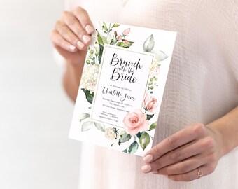 Brunch with the Bride - Pink Floral Bridal Shower Invitation