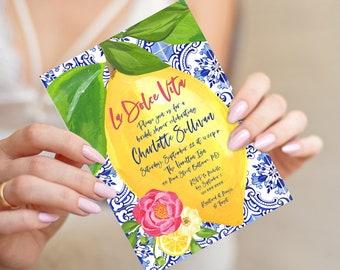 La Dolce Vita - Tuscan Lemon and Fuschia Floral Bridal Shower Invitation - Portuguese Blue Tile and Lemon Bridal Shower Invitation