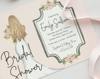 French Inspired Blonde Bride in a Gown Bridal Shower Invitation