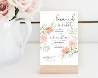 Pink Coral Floral Brunch and Bubbly Bridal Shower Invitation