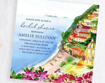 Positano Coast Bridal Shower Invitation - Amalfi Coast Bridal Shower Invitation