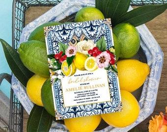 Sicilian Tile Lemon and Floral Bridal Shower Invitation