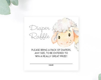 INSTANT DOWNLOAD Lamb Baby Shower Diaper Raffle insert Little Lamb Sheep Watercolor Calligraphy PRINTABLE