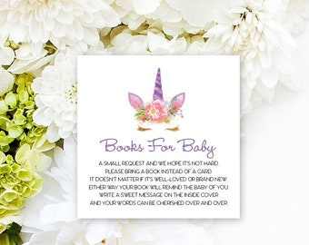 INSTANT DOWNLOAD Unicorn Face Baby Shower Bring a Book Instead of a Card insert Faux Glitter Baby Shower PRINTABLE
