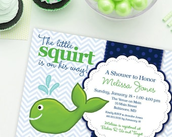 Preppy Whale Baby Shower Invitation Navy and Green Chevron Little Squirt Printable