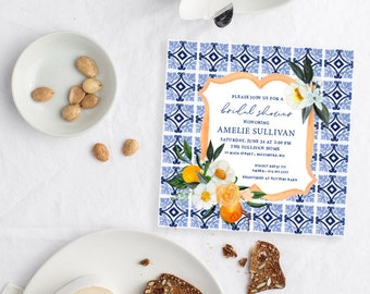 Orange Blossom Mediterranean Tile - Italian Bridal Shower Invitation - Blue and White tile with Oranges