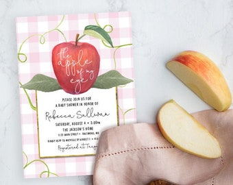 Apple of My Eye Blush Pink Gingham Baby Shower Invitation