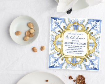 Mediterranean Tile - Italian Bridal Shower Invitation - Blue and White tile