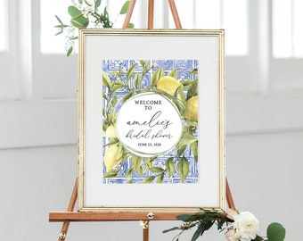 Italian Lemon and Blue Tile Bridal Shower Welcome Sign