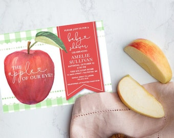 Apple of Our Eye Gingham Baby Shower Invitation - Fall Baby Shower - Apple Picking