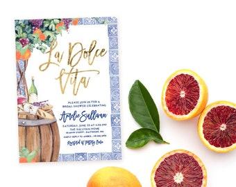 La Dolce Vita - Tuscan Winetasting Bridal Shower Invitation - Tuscany Orange Bridal Shower - Winery Bridal Shower