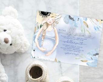 Blue In Full Bloom Baby Shower Invitation - It's a Boy Watercolor Flowers